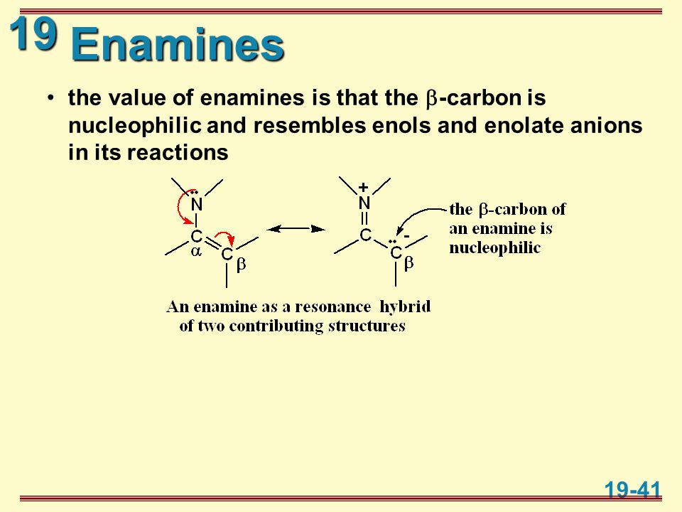 19 19-41 Enamines the value of enamines is that the  -carbon is nucleophilic and resembles enols and enolate anions in its reactions