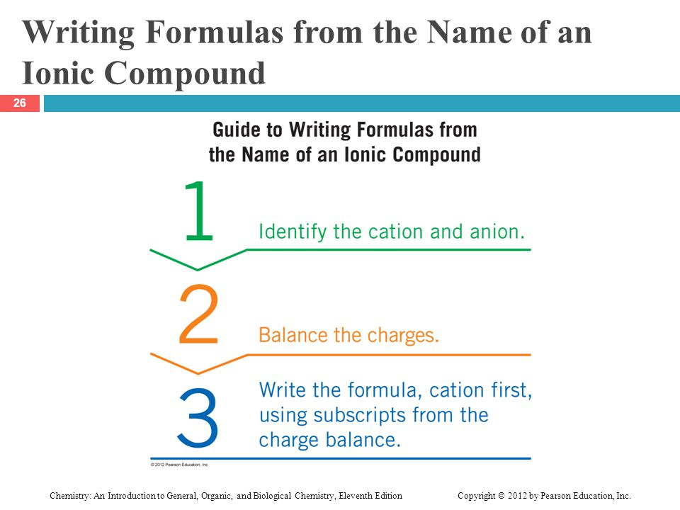 Writing Formulas from the Name of an Ionic Compound 26 Chemistry: An Introduction to General, Organic, and Biological Chemistry, Eleventh Edition Copy