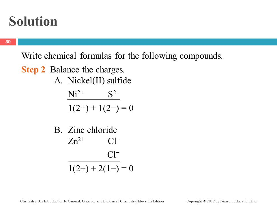 Solution Write chemical formulas for the following compounds. Step 2 Balance the charges. A. Nickel(II) sulfide Ni 2+ S 2− 1(2+) + 1(2−) = 0 B.Zinc ch