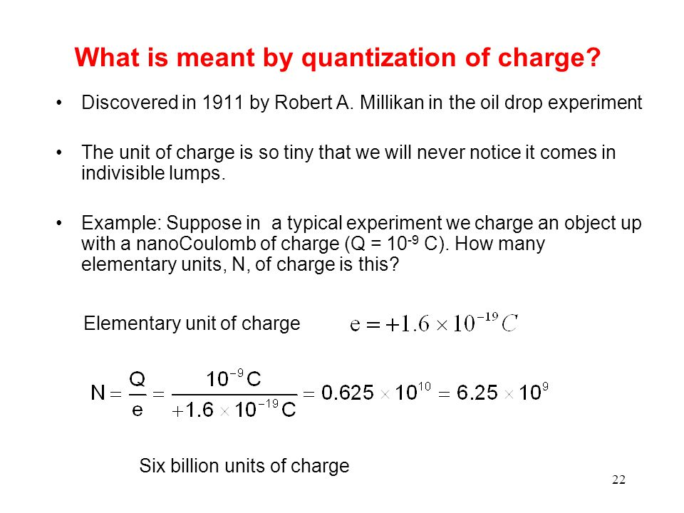 22 What is meant by quantization of charge. Discovered in 1911 by Robert A.