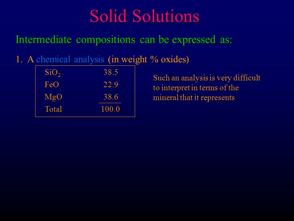 Solid Solutions Intermediate compositions can be expressed as: 1. A chemical analysis (in weight % oxides) SiO 2 38.5 FeO22.9 MgO38.6 Total 100.0 Such
