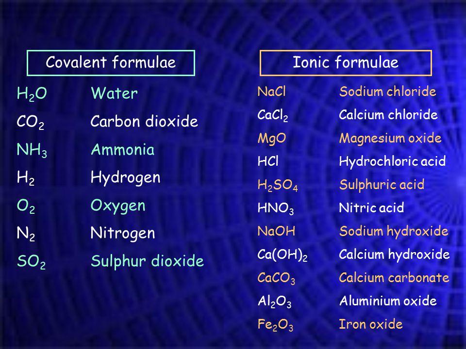Covalent formulaeIonic formulae H 2 O CO 2 NH 3 H 2 O 2 N 2 SO 2 Water Carbon dioxide Ammonia Hydrogen Oxygen Nitrogen Sulphur dioxide NaCl CaCl 2 MgO HCl H 2 SO 4 HNO 3 NaOH Ca(OH) 2 CaCO 3 Al 2 O 3 Fe 2 O 3 Sodium chloride Calcium chloride Magnesium oxide Hydrochloric acid Sulphuric acid Nitric acid Sodium hydroxide Calcium hydroxide Calcium carbonate Aluminium oxide Iron oxide