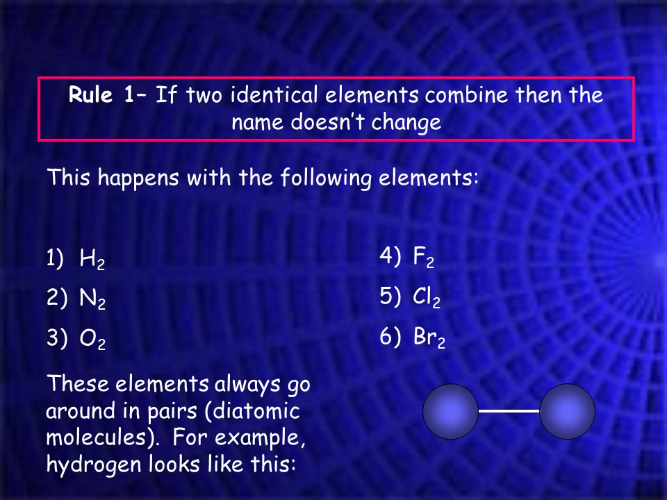 Rule 1– If two identical elements combine then the name doesn't change This happens with the following elements: 1)H 2 2)N 2 3)O 2 4)F 2 5)Cl 2 6)Br 2 These elements always go around in pairs (diatomic molecules).