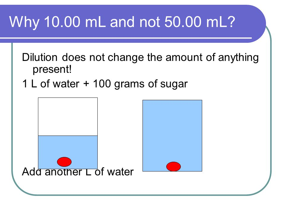 Why 10.00 mL and not 50.00 mL. Dilution does not change the amount of anything present.