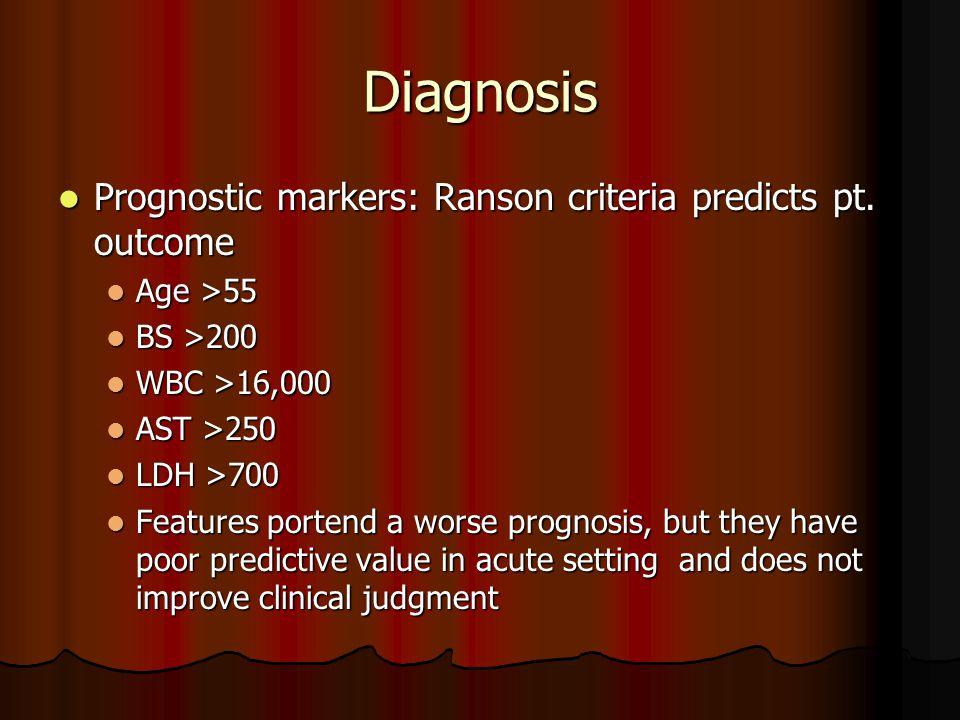 Diagnosis Prognostic markers: Ranson criteria predicts pt.