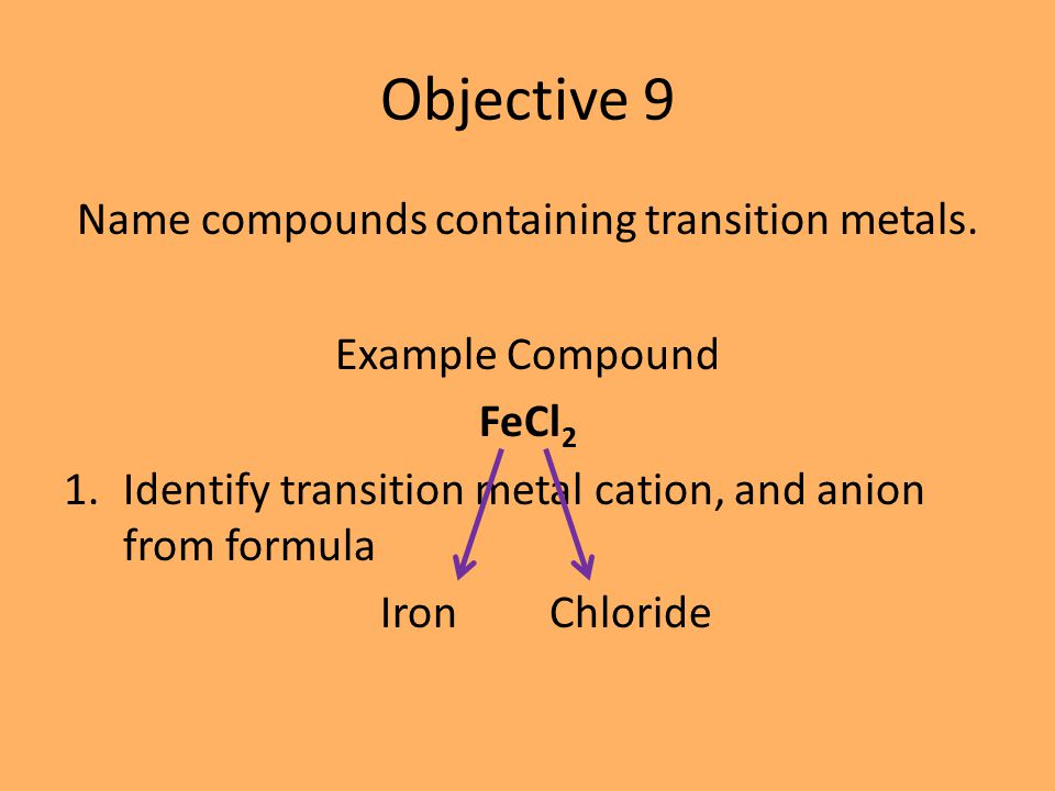 Example Name Cobalt (III) Chloride CoCl 3