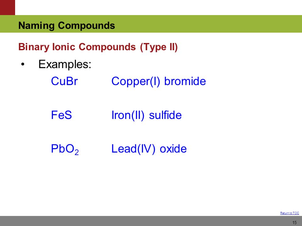 Naming Compounds Return to TOC 15 Examples: CuBrCopper(I) bromide FeSIron(II) sulfide PbO 2 Lead(IV) oxide Binary Ionic Compounds (Type II)