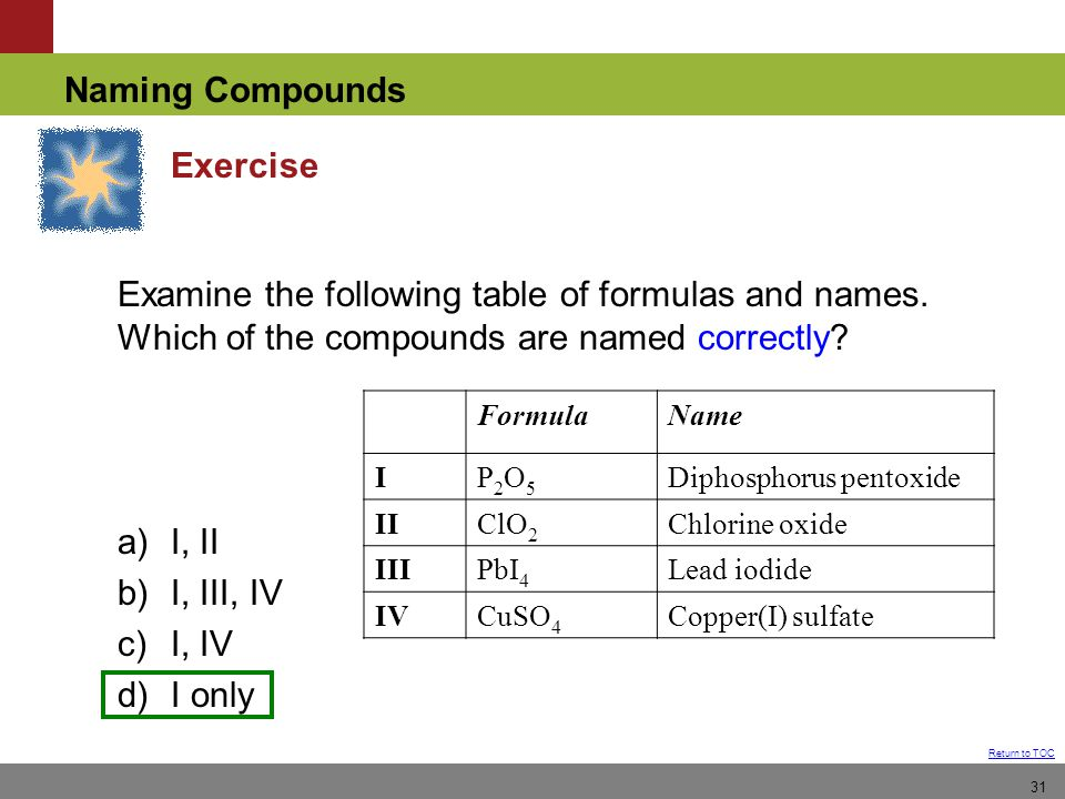Naming Compounds Return to TOC 31 Exercise Examine the following table of formulas and names.