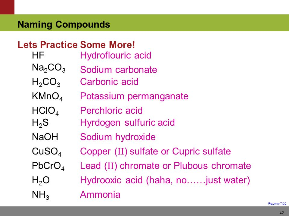 Naming Compounds Return to TOC 42 Lets Practice Some More.