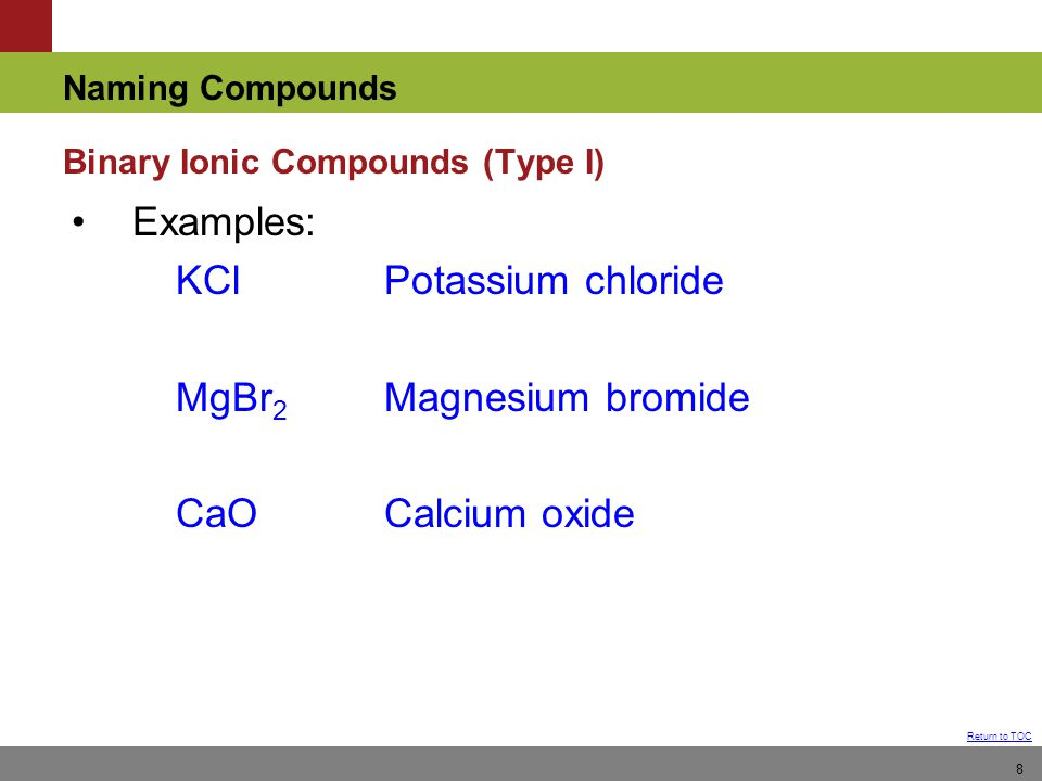 Naming Compounds Return to TOC 8 Examples: KClPotassium chloride MgBr 2 Magnesium bromide CaOCalcium oxide Binary Ionic Compounds (Type I)
