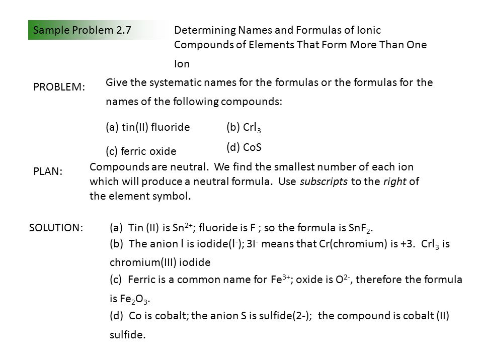 Sample Problem 2.7Determining Names and Formulas of Ionic Compounds of Elements That Form More Than One Ion PLAN: SOLUTION: Compounds are neutral.