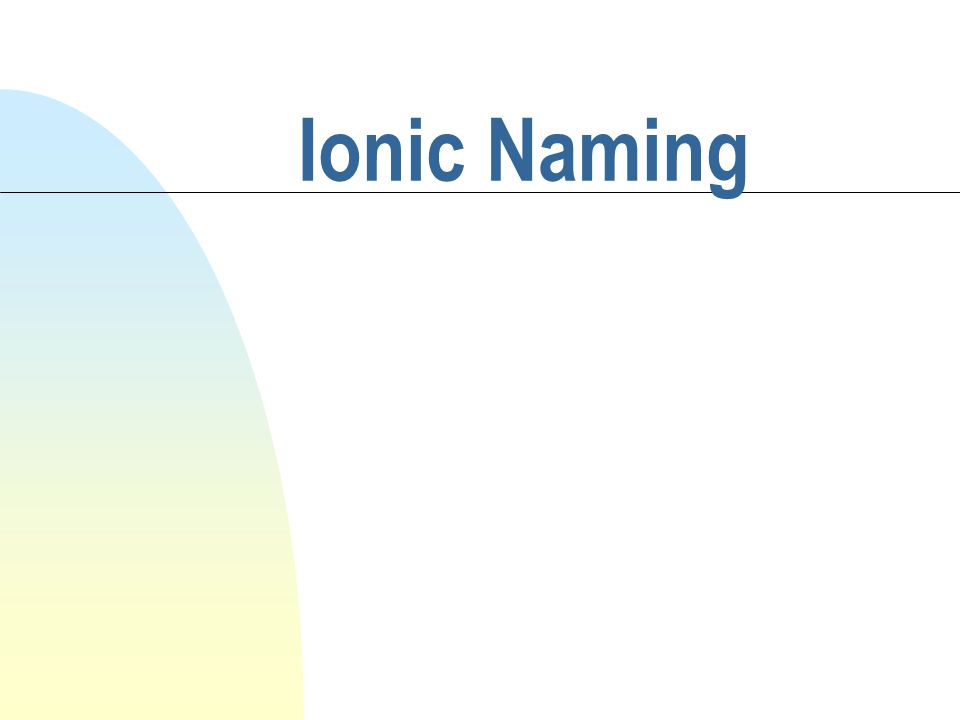 Objective/Warm-up n SWBAT name ionic compounds.