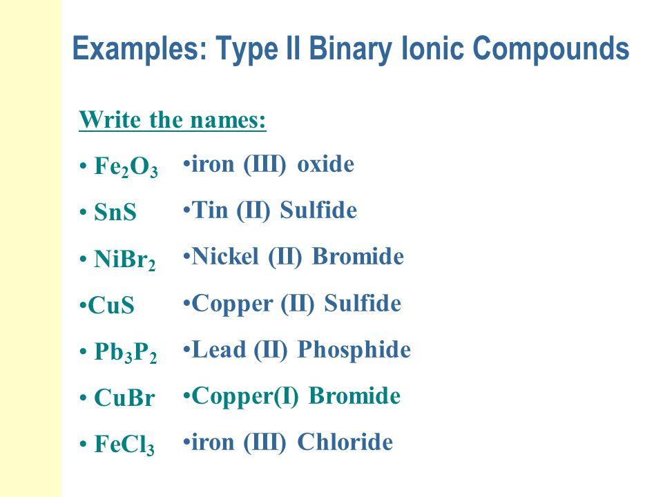 Examples: Type II Binary Ionic Compounds Write the names: Fe 2 O 3 SnS NiBr 2 CuS Pb 3 P 2 CuBr FeCl 3 iron (III) oxide Tin (II) Sulfide Nickel (II) B