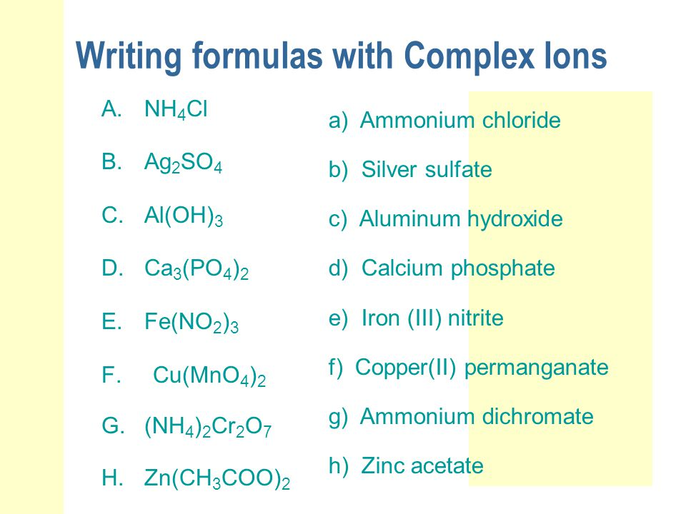 Writing formulas with Complex Ions A.NH 4 Cl B.Ag 2 SO 4 C.Al(OH) 3 D.Ca 3 (PO 4 ) 2 E.Fe(NO 2 ) 3 F. Cu(MnO 4 ) 2 G.(NH 4 ) 2 Cr 2 O 7 H.Zn(CH 3 COO)