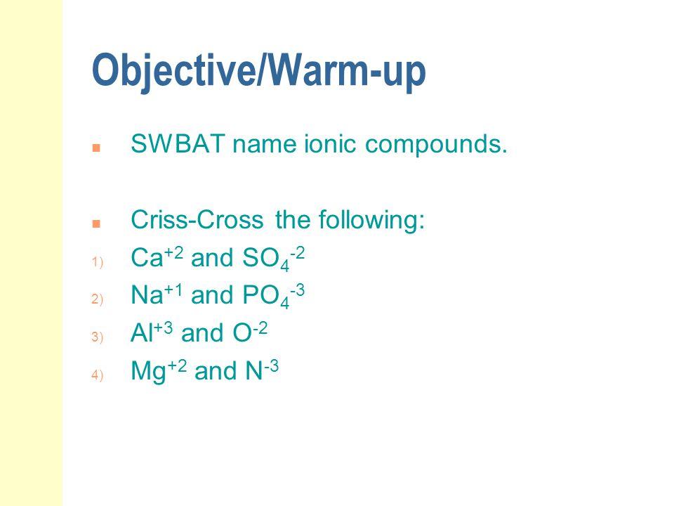 Examples: Type II Binary Ionic Compounds Write the formulas: iron (II) oxide copper (II) chloride tin (IV) sulfide cupric nitride nickel (III) oxide