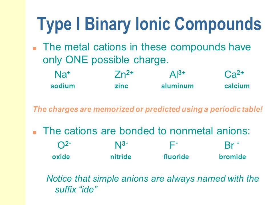 Type I Binary Ionic Compounds n The metal cations in these compounds have only ONE possible charge. Na + Zn 2+ Al 3+ Ca 2+ sodiumzinc aluminumcalcium