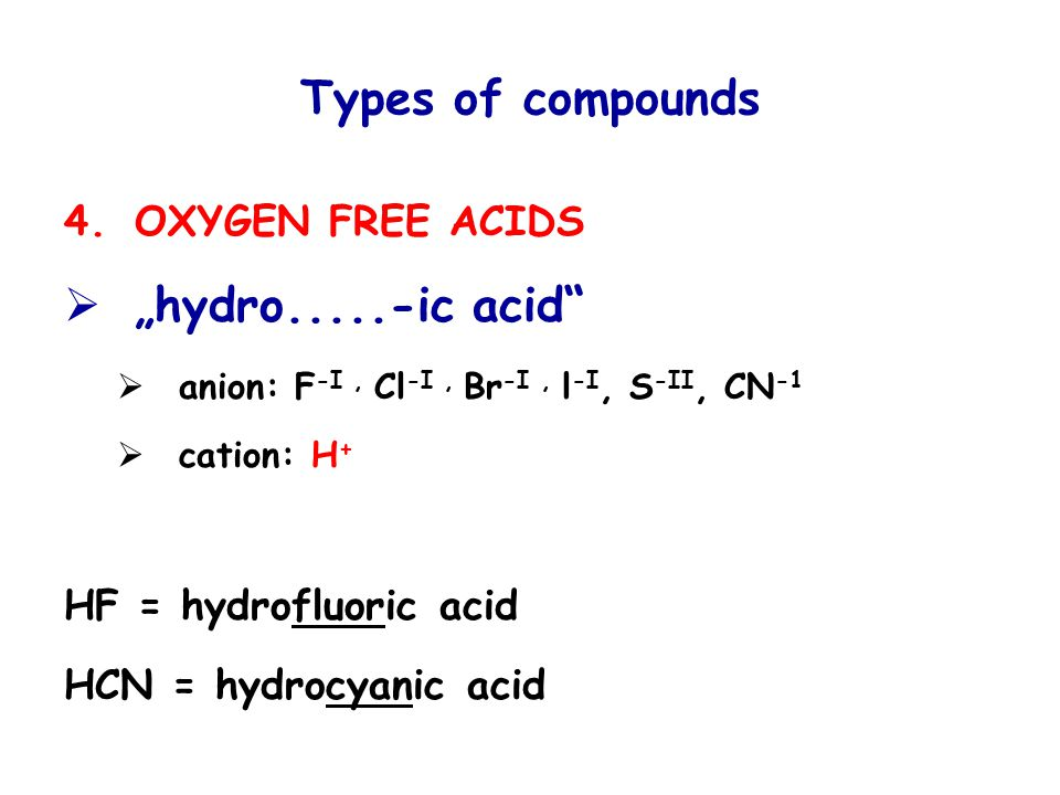 "Types of compounds 4.OXYGEN FREE ACIDS  ""hydro.....-ic acid  anion: F -I, Cl -I, Br -I, l -I, S -II, CN -1  cation: H + HF = hydrofluoric acid HCN = hydrocyanic acid"