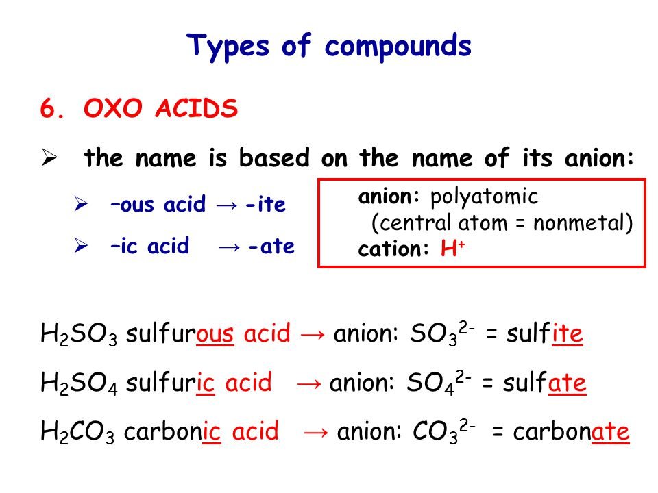 Types of compounds 6.OXO ACIDS  the name is based on the name of its anion:  –ous acid → -ite  –ic acid → -ate H 2 SO 3 sulfurous acid → anion: SO 3 2- = sulfite H 2 SO 4 sulfuric acid → anion: SO 4 2- = sulfate H 2 CO 3 carbonic acid → anion: CO 3 2- = carbonate anion: polyatomic (central atom = nonmetal) cation: H +