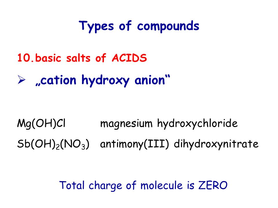 "Types of compounds 10.basic salts of ACIDS  ""cation hydroxy anion Mg(OH)Clmagnesium hydroxychloride Sb(OH) 2 (NO 3 )antimony(III) dihydroxynitrate Total charge of molecule is ZERO"