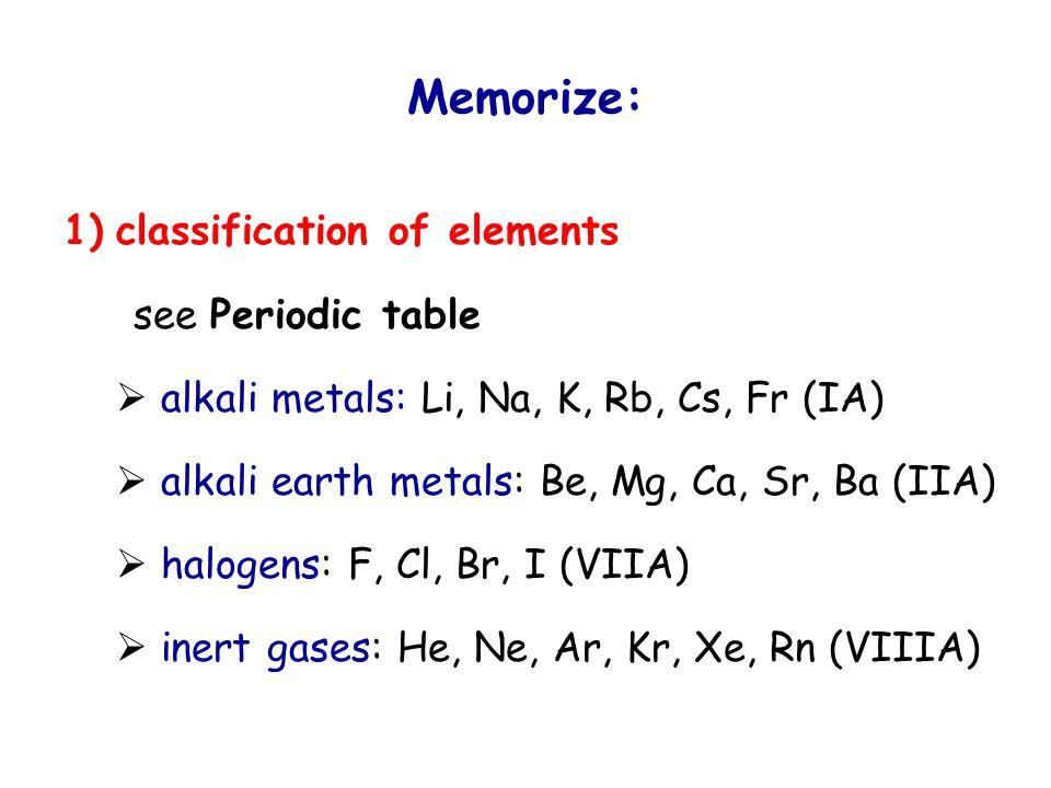 Memorize: 1) classification of elements see Periodic table  nonmetals: H (IA) B (IIIA) C, Si (IVA) N, P, As (VA) O, S, Se (VIA) halogens (VIIA) central atoms of acids