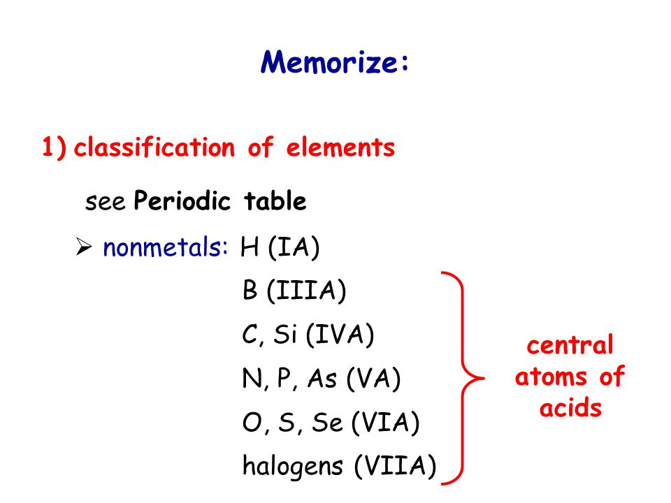 Memorize: 1) classification of elements see Periodic table  nonmetals: H (IA) B (IIIA) C, Si (IVA) N, P, As (VA) O, S, Se (VIA) halogens (VIIA) central atoms of acids