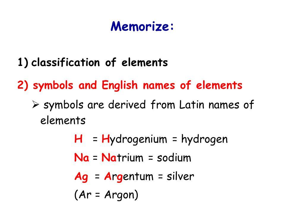 Memorize: 1) classification of elements 2) symbols and English names of elements 3) Latin names of elements  symbols of elements  used in naming of some compounds  used in medicine