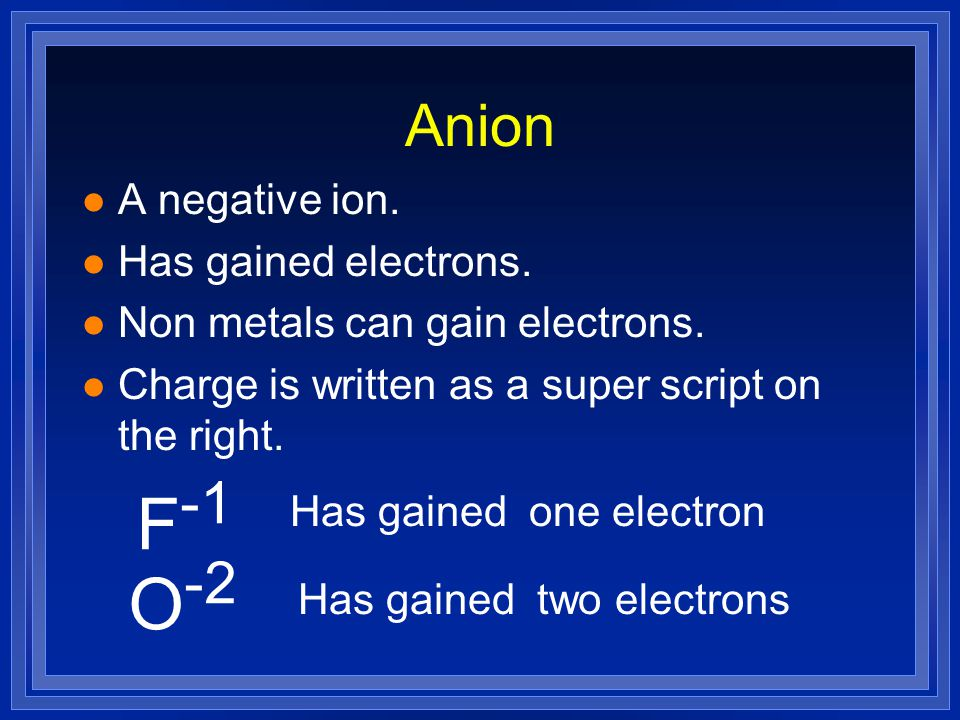 Anion l A negative ion. l Has gained electrons. l Non metals can gain electrons.