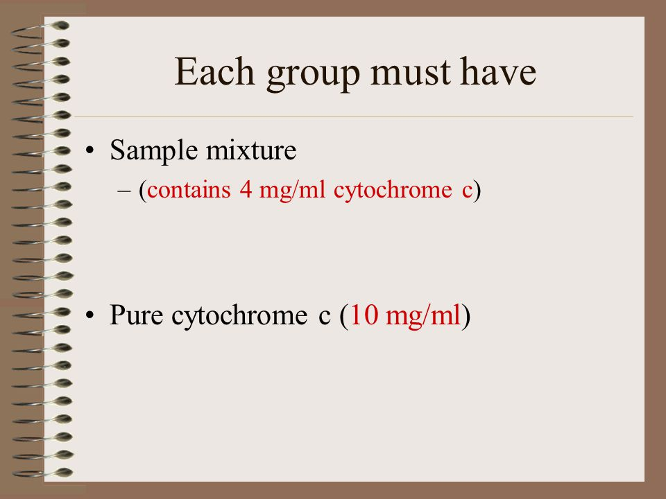 Each group must have Sample mixture –(contains 4 mg/ml cytochrome c) Pure cytochrome c (10 mg/ml)