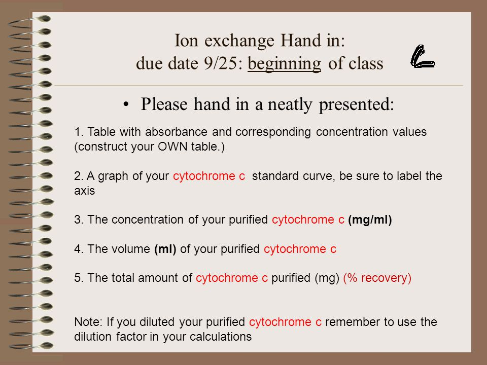 Ion exchange Hand in: due date 9/25: beginning of class Please hand in a neatly presented: 1. Table with absorbance and corresponding concentration va