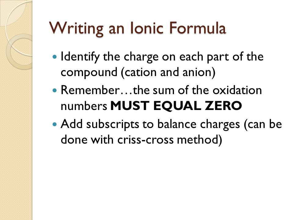 Writing an Ionic Formula Identify the charge on each part of the compound (cation and anion) Remember…the sum of the oxidation numbers MUST EQUAL ZERO