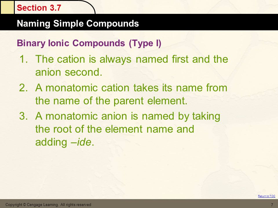 Section 3.7 Naming Simple Compounds Return to TOC