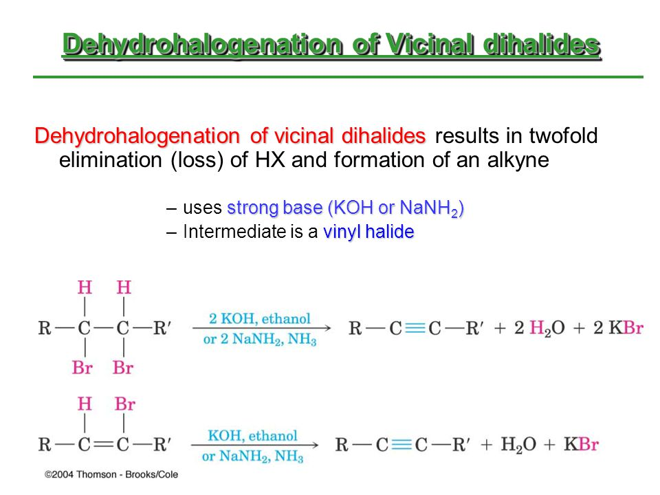Dehydrohalogenation of Vicinal dihalides Dehydrohalogenation of vicinal dihalides Dehydrohalogenation of vicinal dihalides results in twofold eliminat