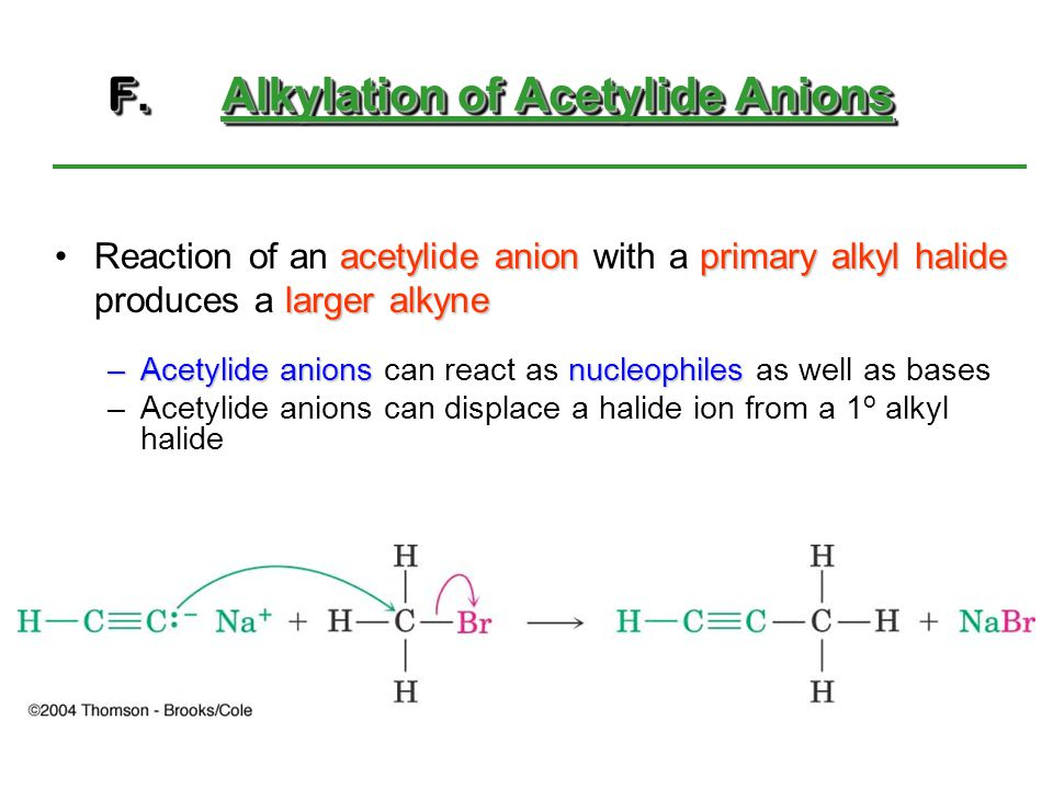 F.Alkylation of Acetylide Anions acetylide anionprimary alkyl halide larger alkyneReaction of an acetylide anion with a primary alkyl halide produces