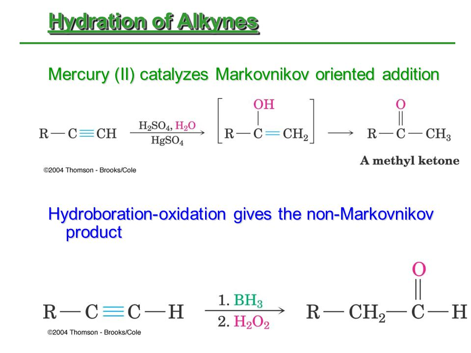 Hydration of Alkynes Mercury (II) catalyzes Markovnikov oriented addition Hydroboration-oxidation gives the non-Markovnikov product
