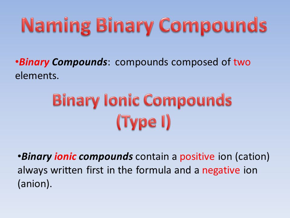 Binary Compounds: compounds composed of two elements.