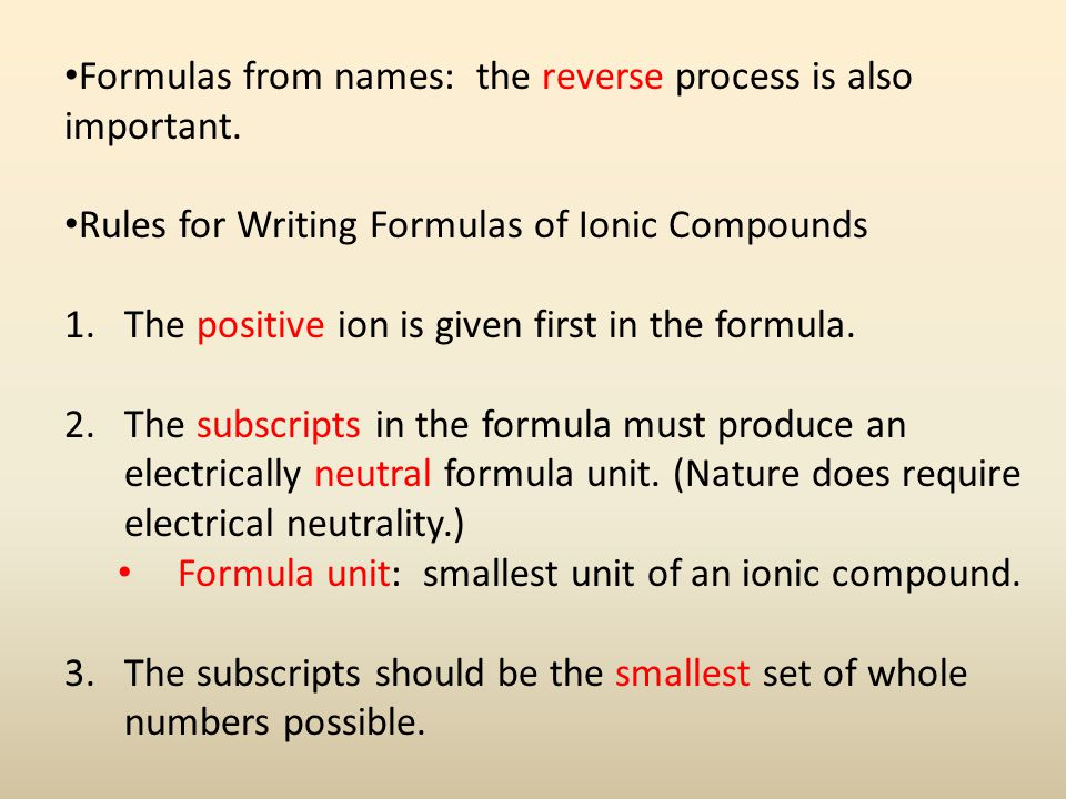 Example: Write the formulas for the ionic compounds.