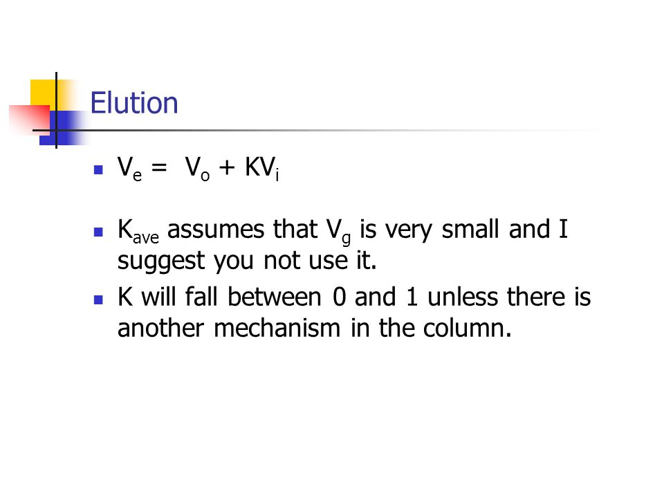 Elution V e = V o + KV i K ave assumes that V g is very small and I suggest you not use it.