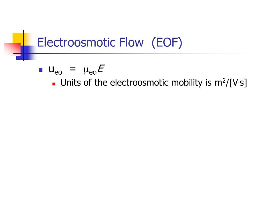Electroosmotic Flow (EOF) u eo =  eo E Units of the electroosmotic mobility is m 2 /[V. s]