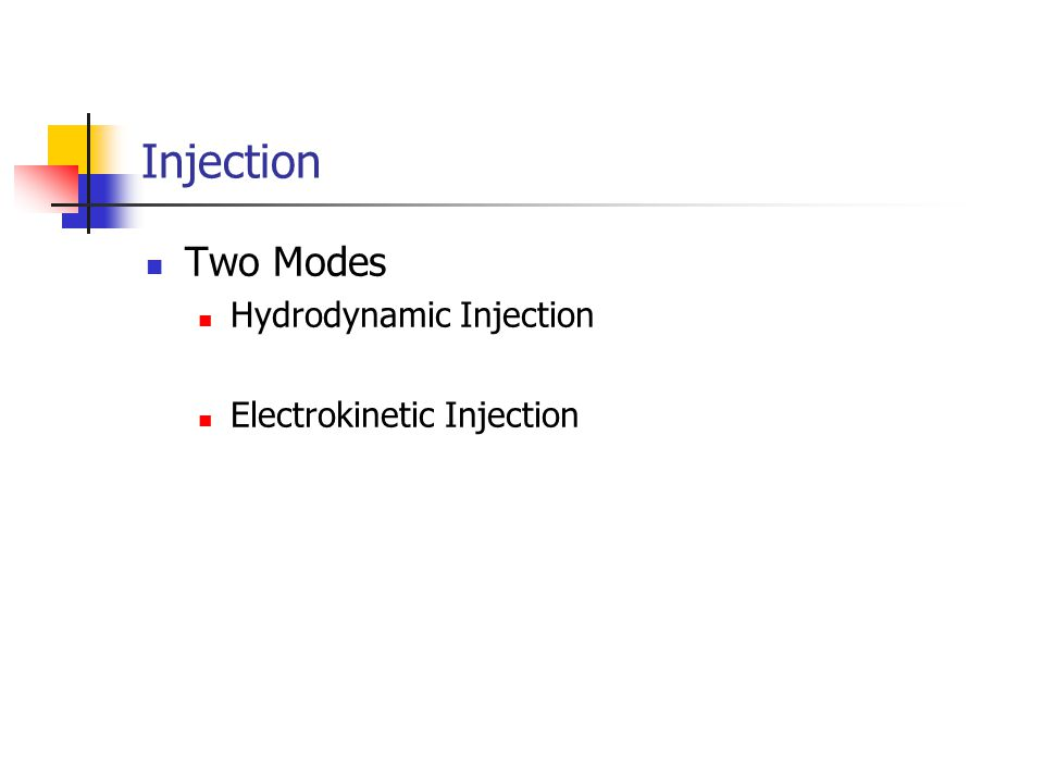 Injection Two Modes Hydrodynamic Injection Electrokinetic Injection