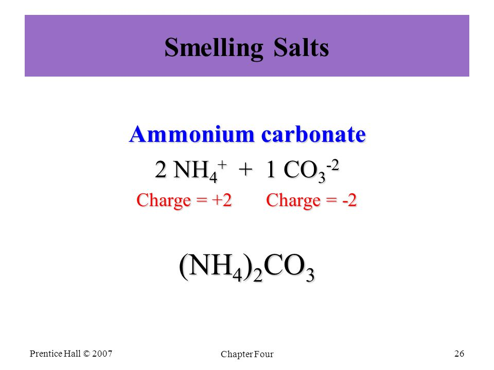 Smelling Salts Ammonium carbonate 2 NH 4 + + 1 CO 3 -2 Charge = +2 Charge = -2 (NH 4 ) 2 CO 3 Prentice Hall © 2007 Chapter Four 26