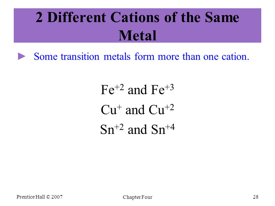 2 Different Cations of the Same Metal ► ►Some transition metals form more than one cation. Fe +2 and Fe +3 Cu + and Cu +2 Sn +2 and Sn +4 Prentice Hal
