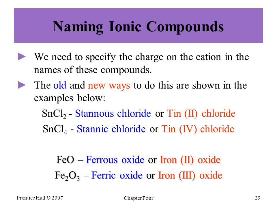 Naming Ionic Compounds ► ►We need to specify the charge on the cation in the names of these compounds.