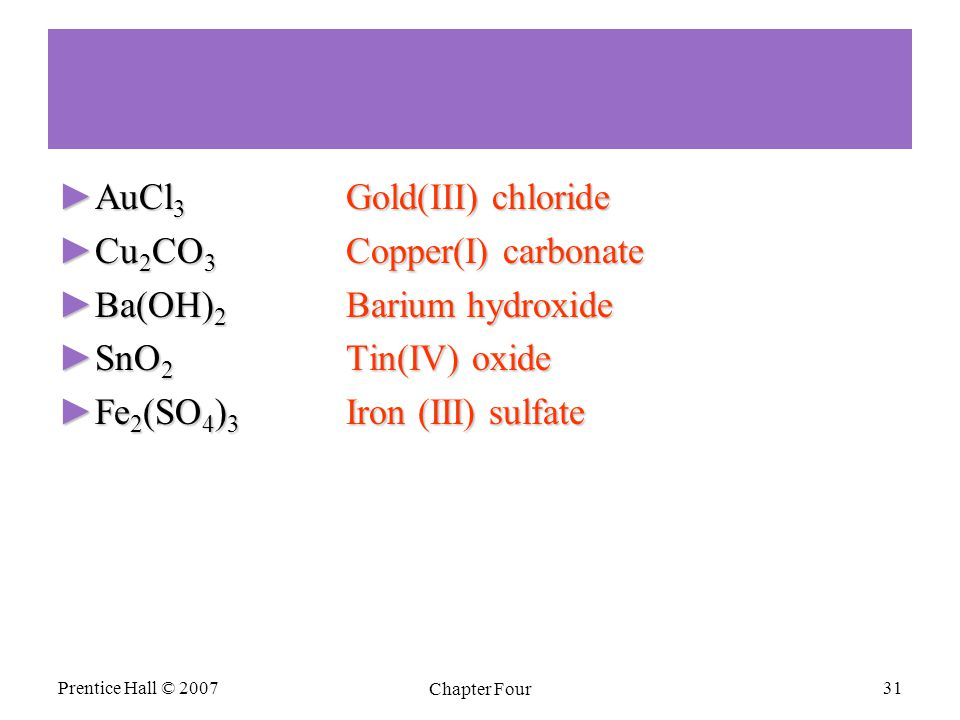 ►AuCl 3 Gold(III) chloride ►Cu 2 CO 3 Copper(I) carbonate ►Ba(OH) 2 Barium hydroxide ►SnO 2 Tin(IV) oxide ►Fe 2 (SO 4 ) 3 Iron (III) sulfate Prentice Hall © 2007 Chapter Four 31