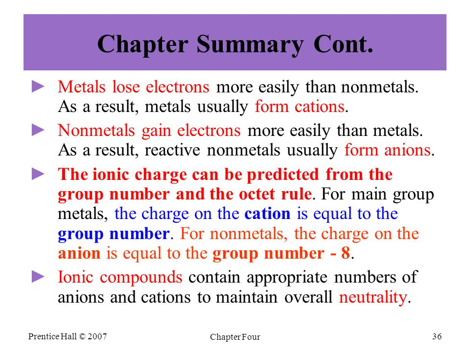Prentice Hall © 2007 Chapter Four 36 Chapter Summary Cont. ► ►Metals lose electrons more easily than nonmetals. As a result, metals usually form catio