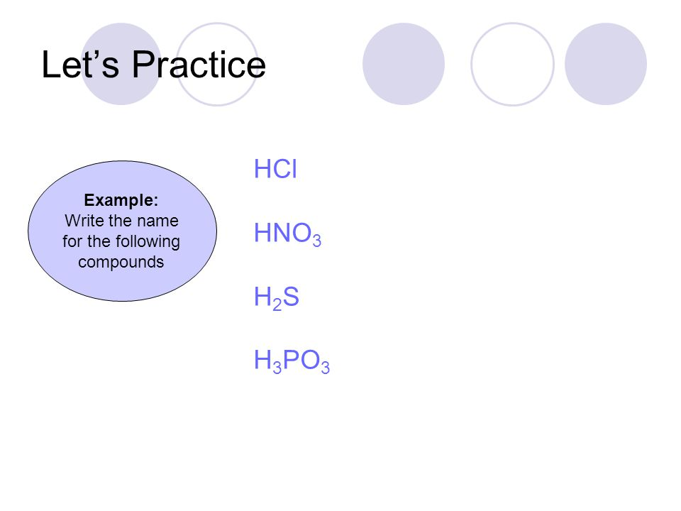 Let's Practice Hydrochloric acid Nitric acid Hydrosulfuric acid Phosphorous acid Example: Write the name for the following compounds HCl HNO 3 H 2 S H 3 PO 3