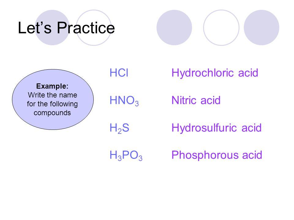 Writing Acid Formulas