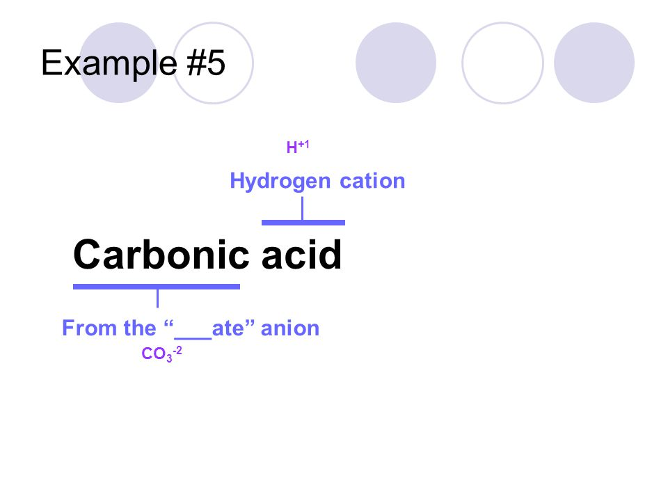 Example #5 Carbonic acid Hydrogen cation From the ___ate anion H +1 CO 3 -2 H 2 CO 3 H + CO 3 2- +1 + -2 = -1 H + H + CO 3 2- +1 + 1 + -2 = 0