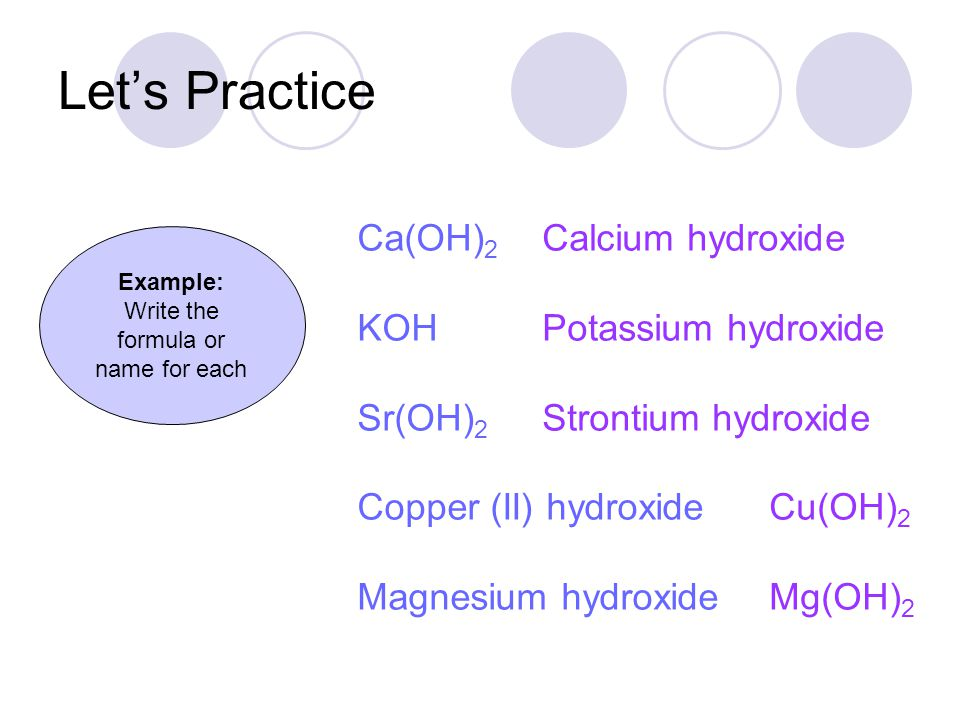 Let's Practice Calcium hydroxide Potassium hydroxide Strontium hydroxide Cu(OH) 2 Mg(OH) 2 Example: Write the formula or name for each Ca(OH) 2 KOH Sr