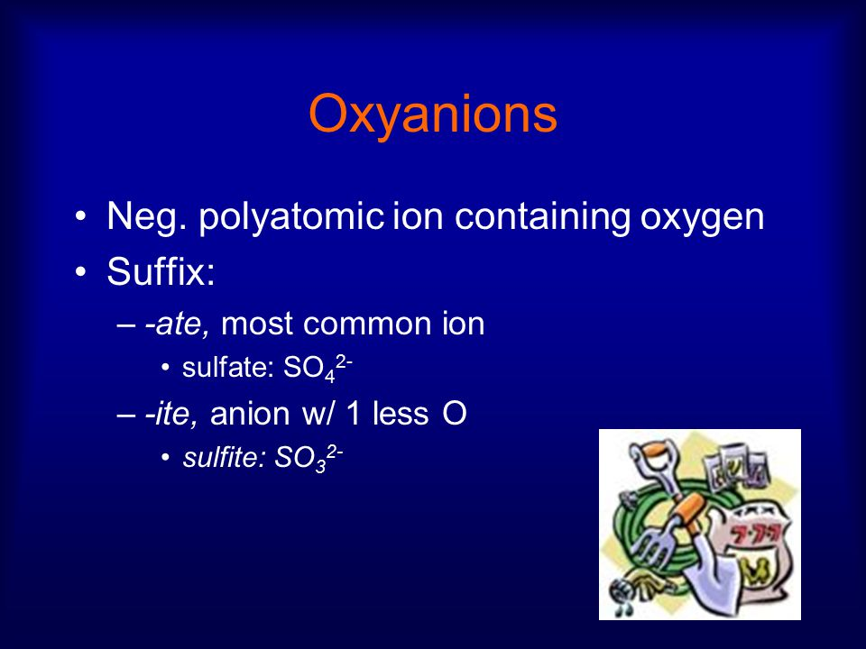 Oxyanions Neg. polyatomic ion containing oxygen Suffix: –-ate, most common ion sulfate: SO 4 2- –-ite, anion w/ 1 less O sulfite: SO 3 2-