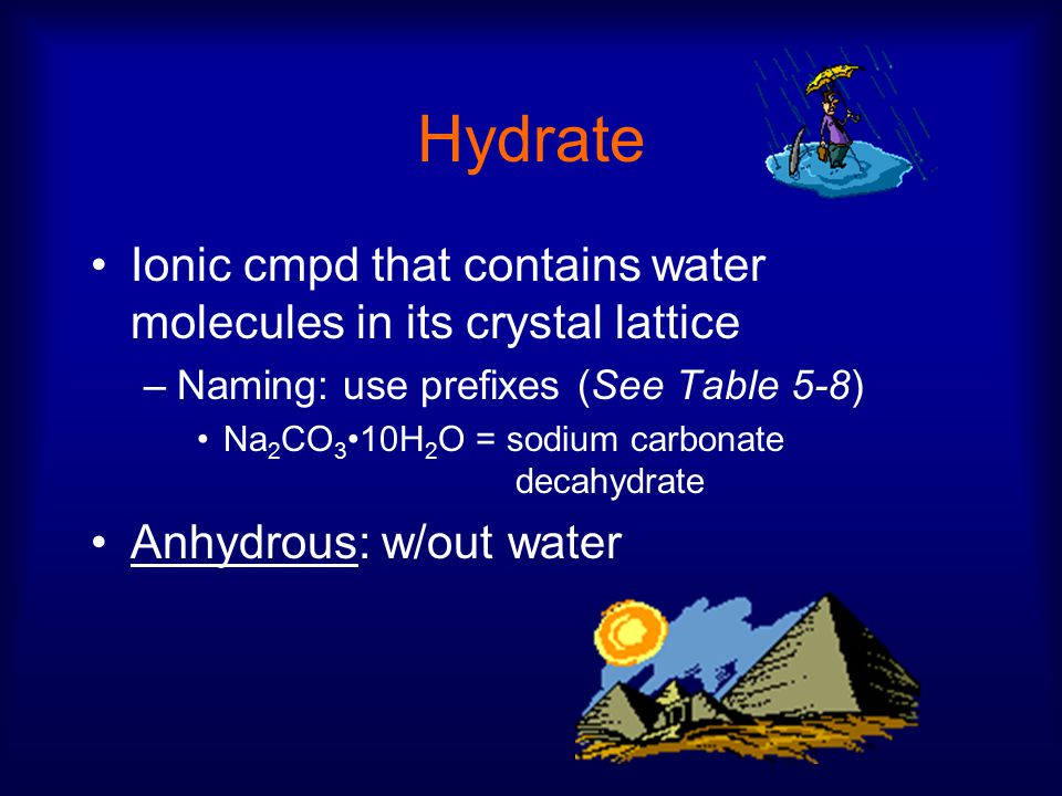 Hydrate Ionic cmpd that contains water molecules in its crystal lattice –Naming: use prefixes (See Table 5-8) Na 2 CO 3 10H 2 O = sodium carbonate decahydrate Anhydrous: w/out water